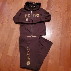 BCBGMAXAZRIA Brown and Gold Sweat Suit